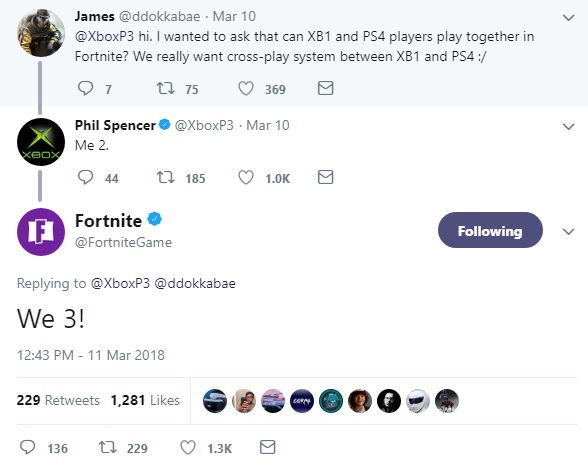 can ps4 and xbox one play together on fortnite